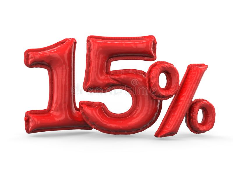 Red fifteen percent made of inflatable balloons. Percent set. 3D vector illustration