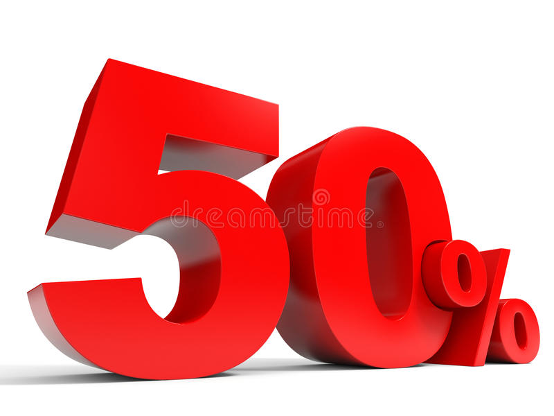 Red fifty percent off. Discount 50%. 3D illustration royalty free illustration