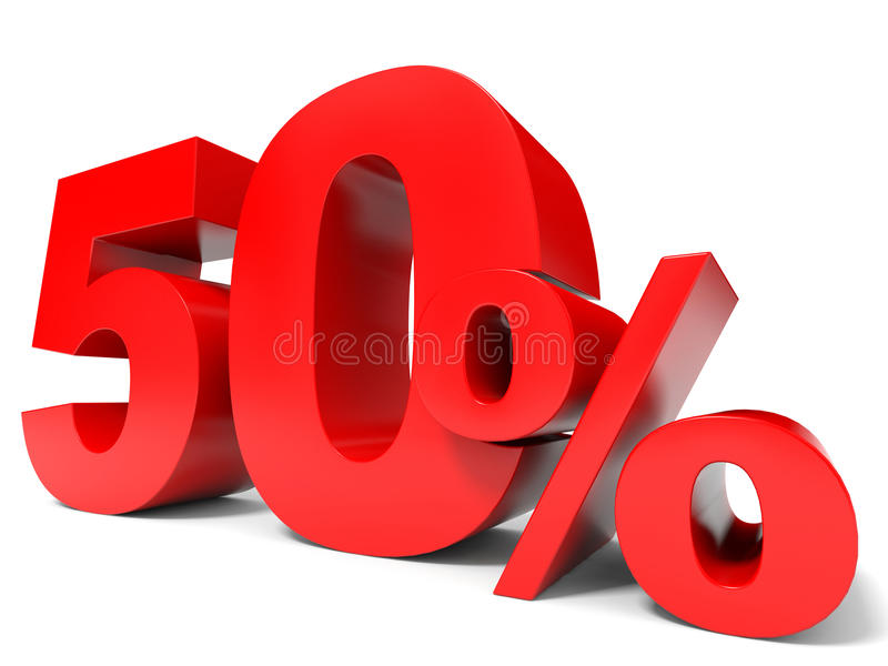 Red fifty percent off. Discount 50%. 3D illustration vector illustration
