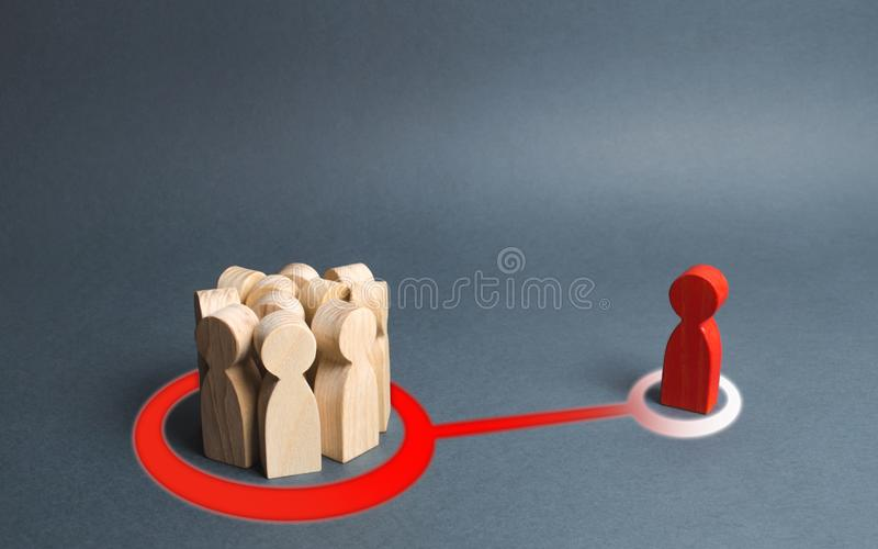 Red figure of a man and a crowd of people are connected by an abstract line. crowd or the majority influences person. The imposition of rules and opinions of royalty free stock photo