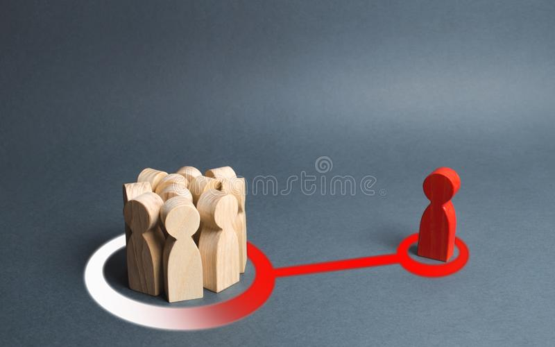The red figure of a person influences a crowd of people. Expressing your own opinion, turning to your side. Mastery of persuasion stock images