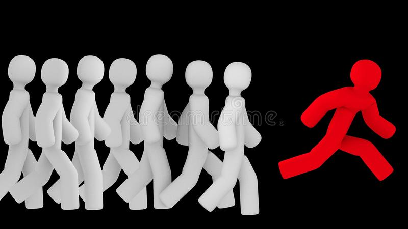 Red figure running ahead of all the white ones. 3D rendering. stock illustration