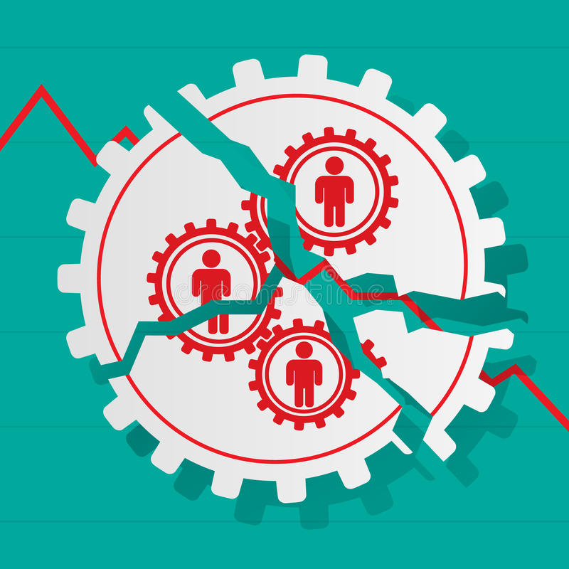 Red figures of people in gears are broken. Business concept. Ban. Kruptcy vector illustration