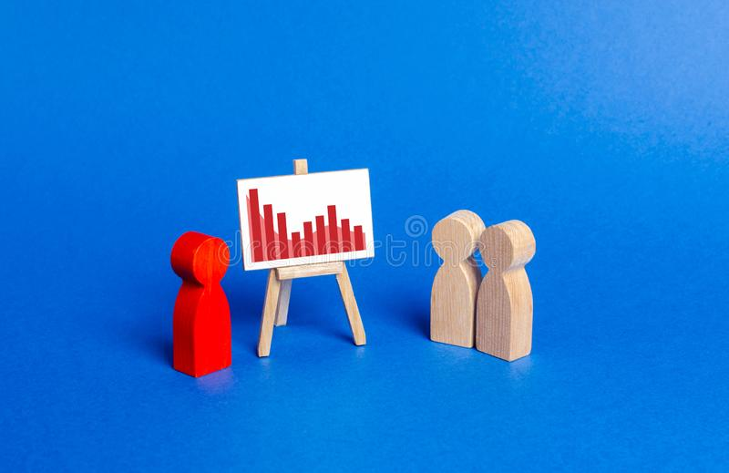 Red figurine of a man holds a presentation. Negative trend chart. Falling sales and profits, rising costs and losses. Bad times royalty free stock photos