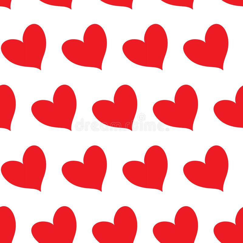 Red fill hearts in diagonal alignment isolated in a white transparent seamless infinite pattern background. Vector illustration royalty free illustration