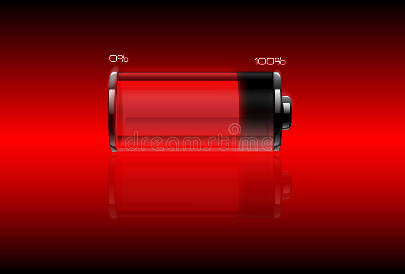 Red Filled Battery Royalty Free Stock Photography