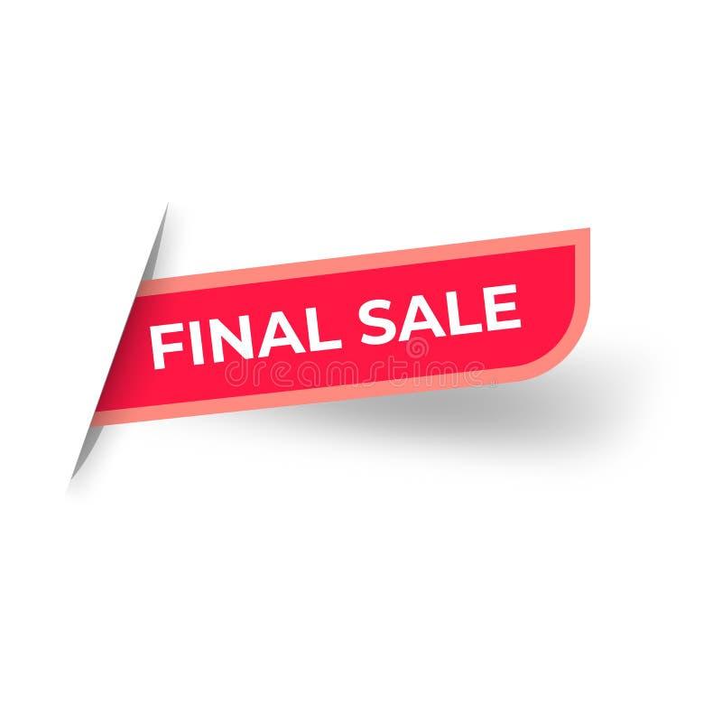 Red Final Sale banner template design. Big sale special offer. Special offer banner for poster, flyer, brochure, sticker. Cutted. Paper Vector illustration stock illustration