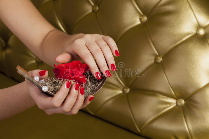 Red finger nails holding a boat with a rose royalty free stock photos