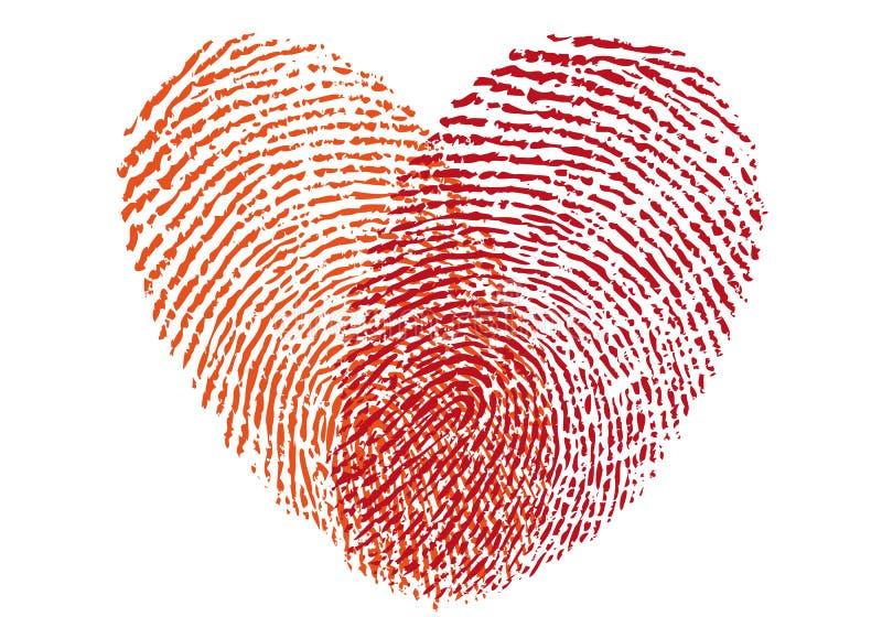 Red fingerprint heart, vector vector illustration