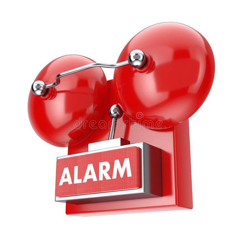 Red Fire Alarm Bell System. 3d Rendering. Red Fire Alarm Bell System on a white background. 3d Rendering vector illustration