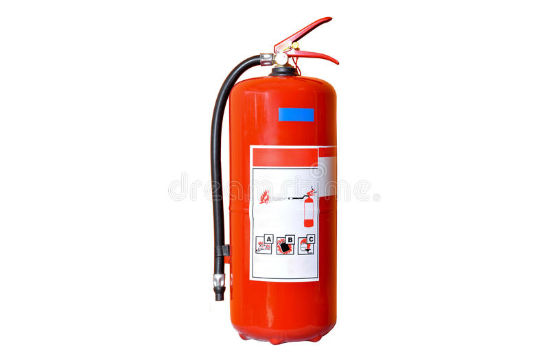 Red fire extinguisher. Isolated on white ground stock images