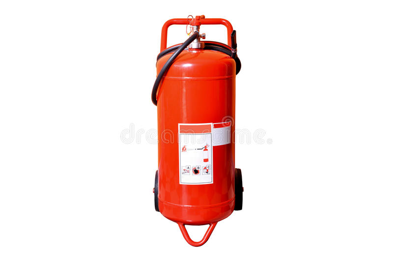 Red fire extinguisher. Isolated on white ground royalty free stock image