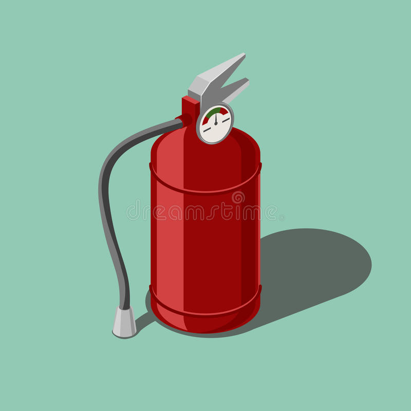 Red fire extinguisher isometric vector vector illustration