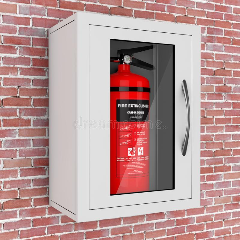 Red Fire Extinguisher in a Wall Mounted Emergency Storage Box. 3. Red Fire Extinguisher in a Wall Mounted Emergency Storage Box in front of brick wall. 3d royalty free illustration