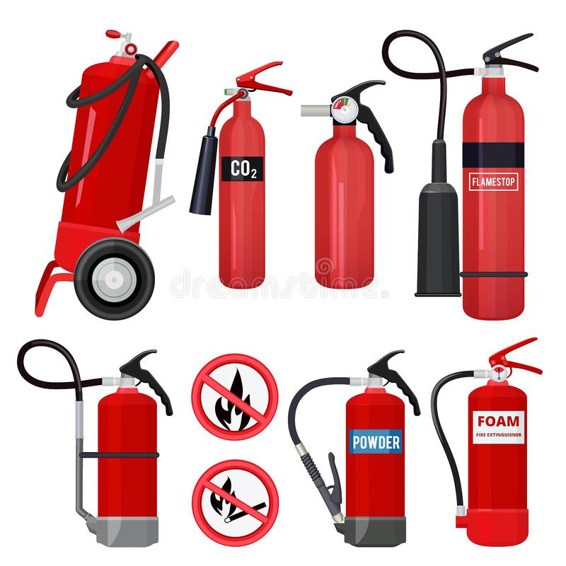 Red fire extinguishers. Firefighters tools for flame fighting attention colored vector symbols for fire station. Illustration of equipment safety, extinguisher vector illustration