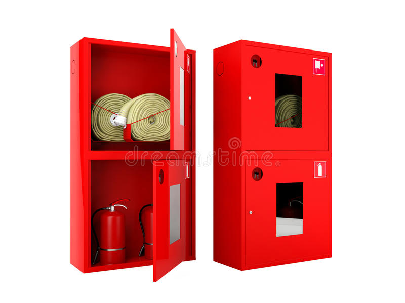 Marvelous Download Red Fire Hose And Fire Extinguisher Cabinets On White Background  Stock Image   Image Of