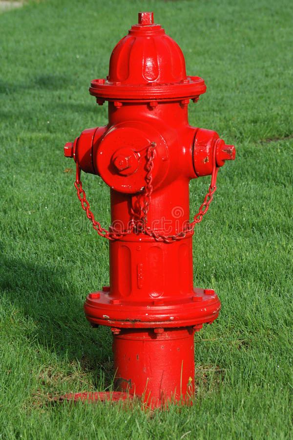 Red Fire HYdrant. With Green Grass Background royalty free stock images