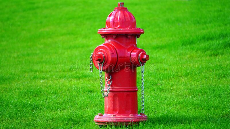 Red Fire Hydrant on Green Grass Field royalty free stock photos