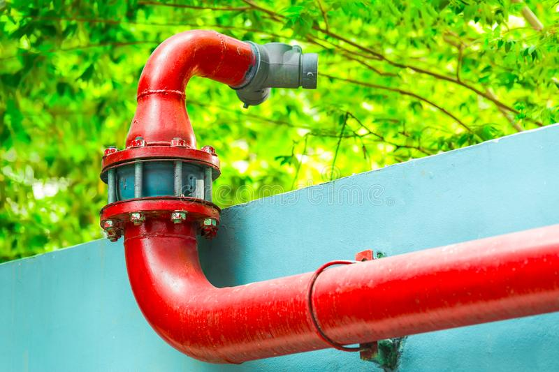 Red Fire pumps, Fire Department Connector, Fire hydrant, Hose Co stock photo