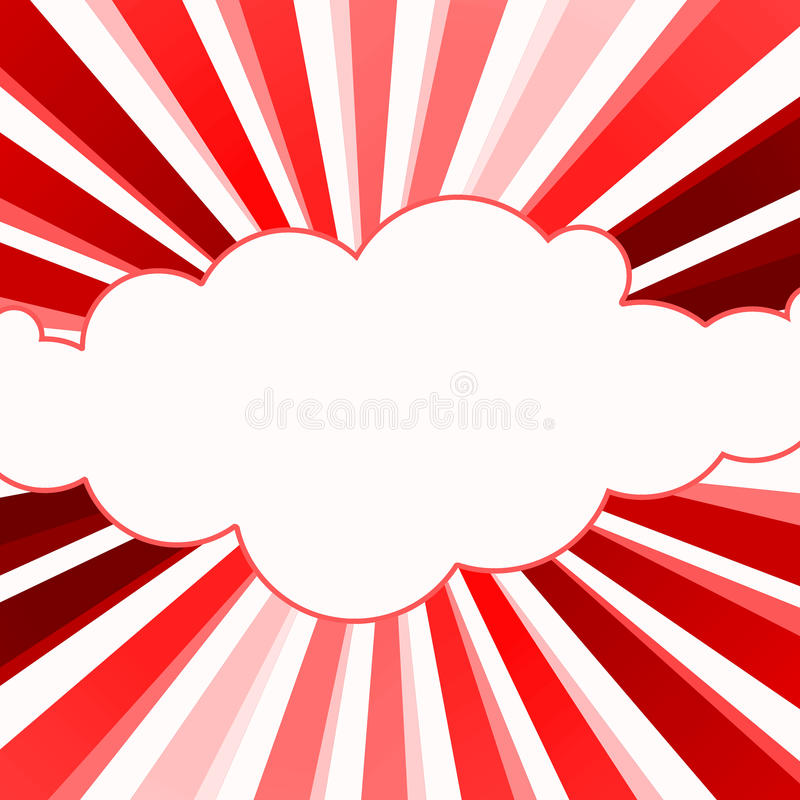 Red Fire Rays Cloud Frame Card vector illustration