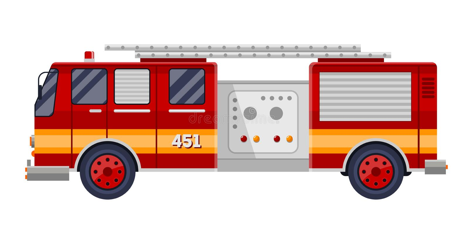 Red fire truck engine on white vector illustration. stock illustration