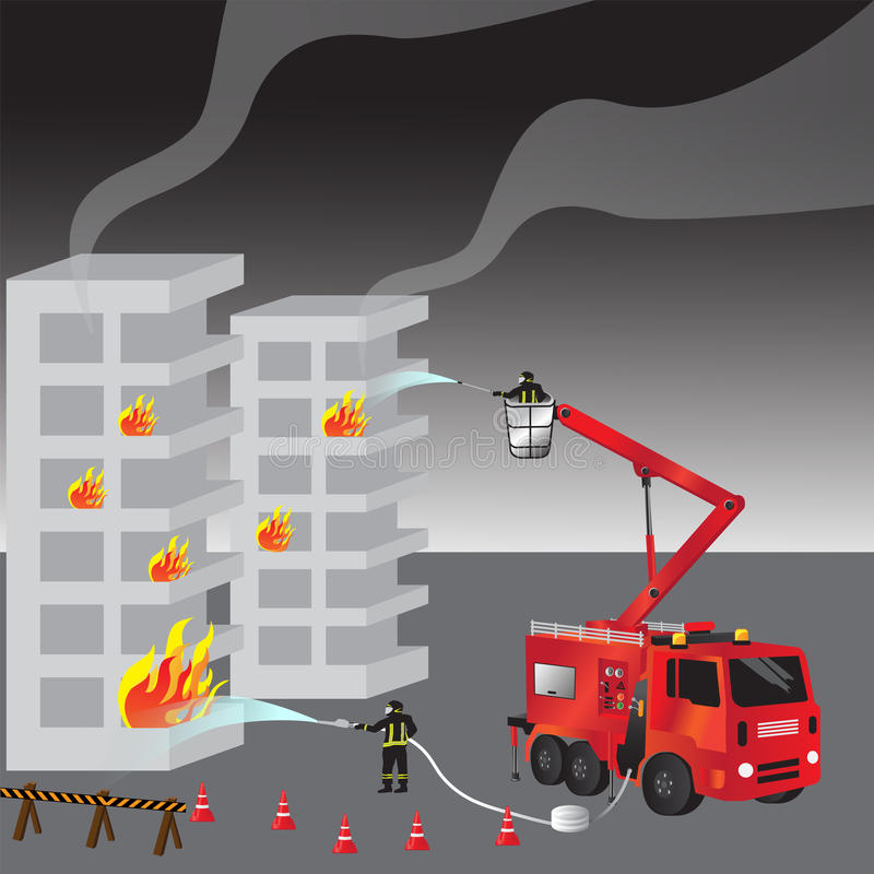 Red fire truck and fireman in uniform. Firefighters. Fire brigade and team. Rescue. Vector illustration. stock images