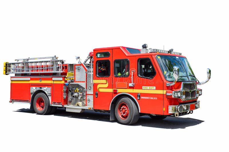 Red fire truck isolated. Side view of red fire truck isolated with white background stock images