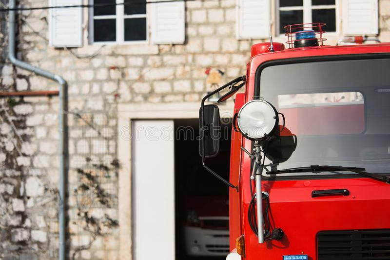 Red fire truck. Fire truck at the fire station stock photography