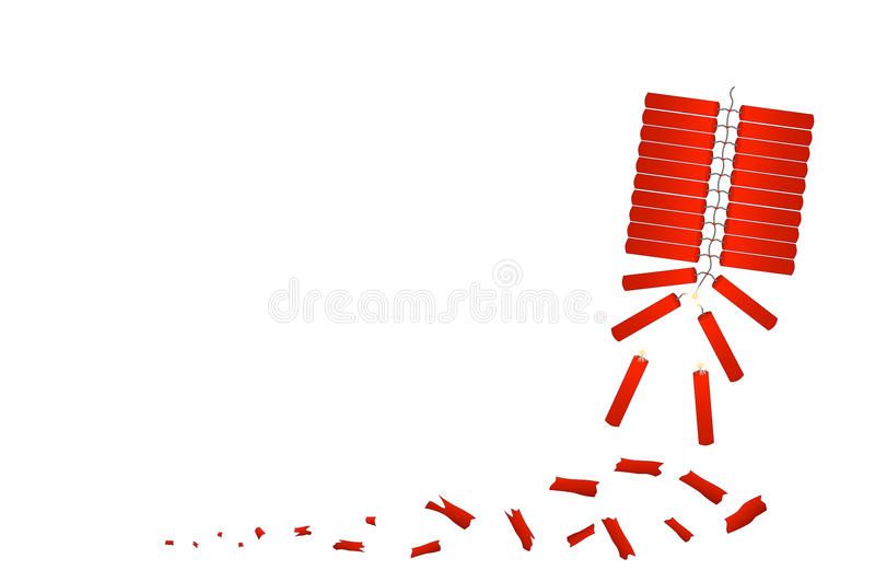 Red firecracker celebrate Chinese New Year royalty free illustration