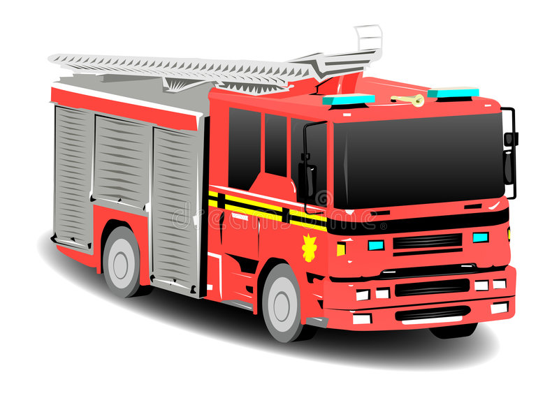 Red Firetruck Fire Engine. Over White royalty free illustration