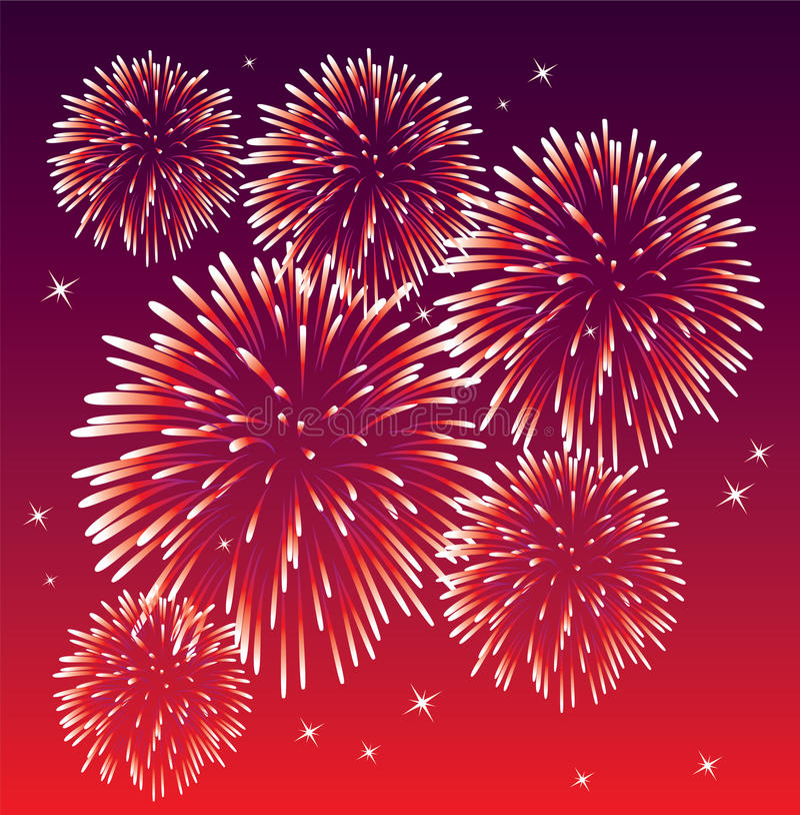 Red fireworks stock illustration