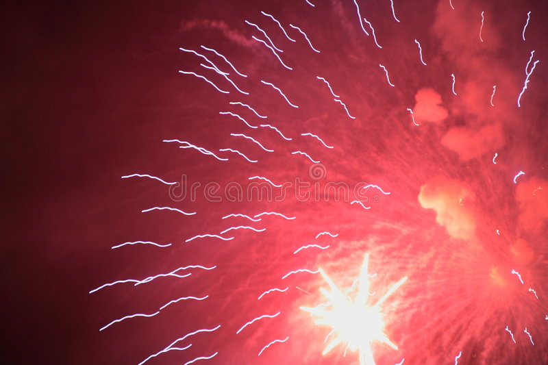 Red Fireworks. Fireworks with red glow in Tegucigalpa, Honduras royalty free stock photos