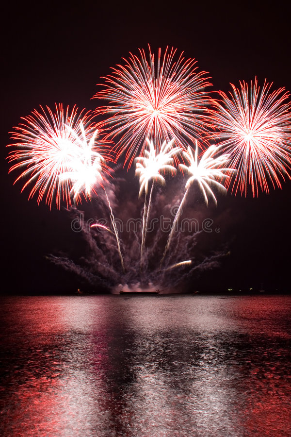 Red Fireworks royalty free stock image