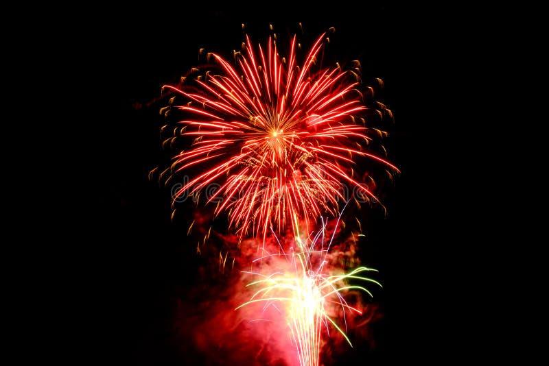 Red Fireworks Digital Wallpaper stock photos