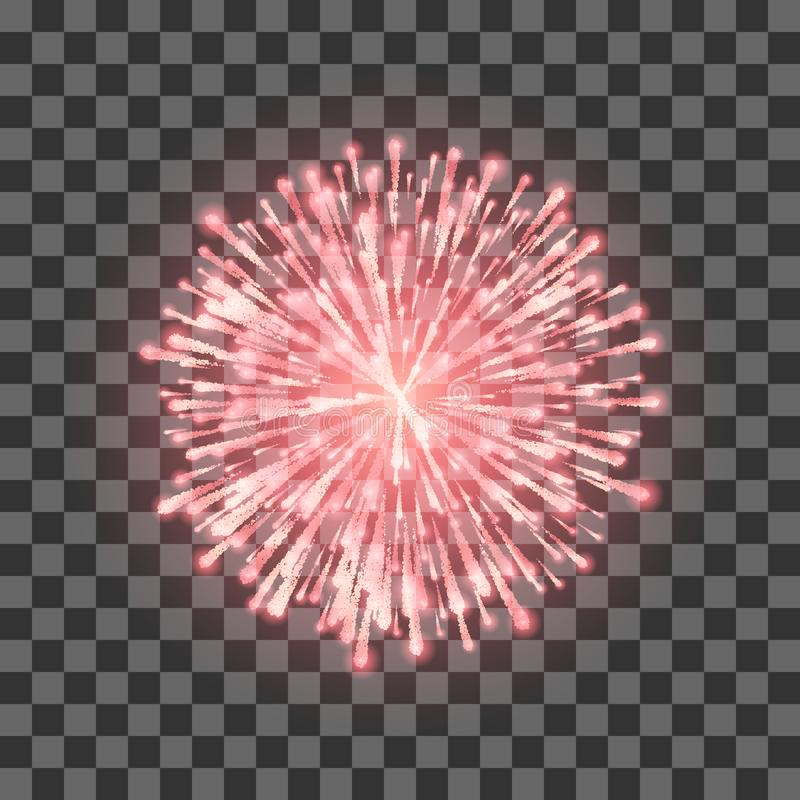 Red Fireworks. Festival beautiful firework. Vector llustration on transparent background royalty free illustration