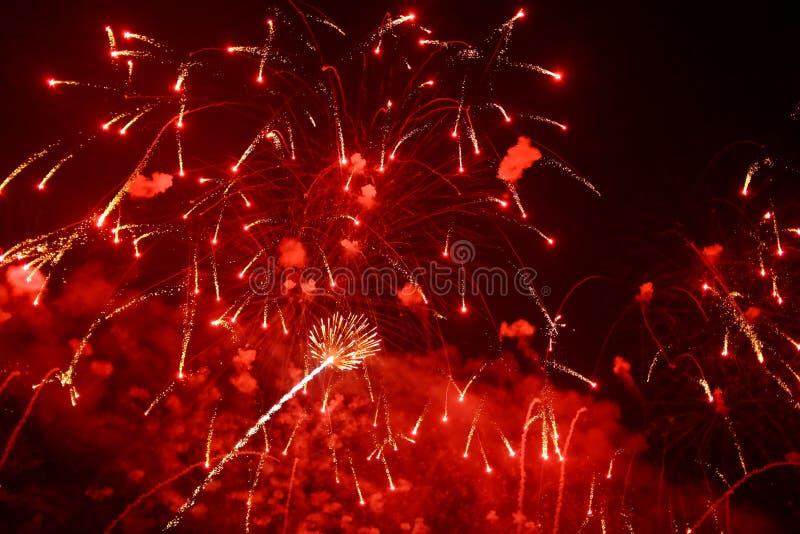 Red Fireworks. Fireworks July4 Nightshot festive stock image