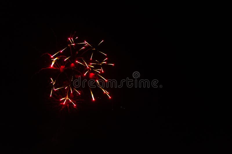 The Red Fireworks. Red Fireworks Labor Day Celebration. July 4th. Independence Day. Night. New Years Eve stock photos