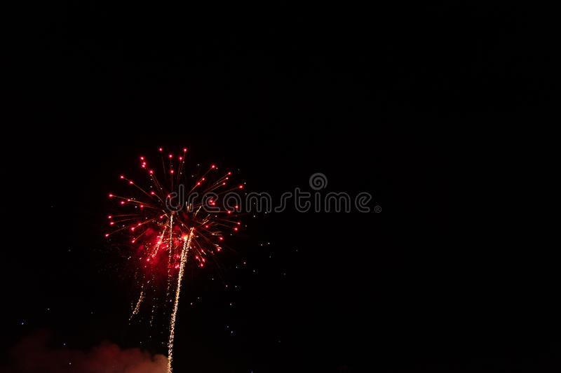 The Red Fireworks. Red Fireworks Labor Day Celebration. July 4th. Independence Day. Night. New Years Eve royalty free stock photography