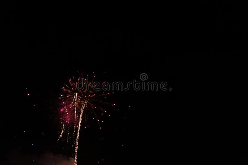 The Red Fireworks. Red Fireworks Labor Day Celebration. July 4th. Independence Day. Night. New Years Eve stock images