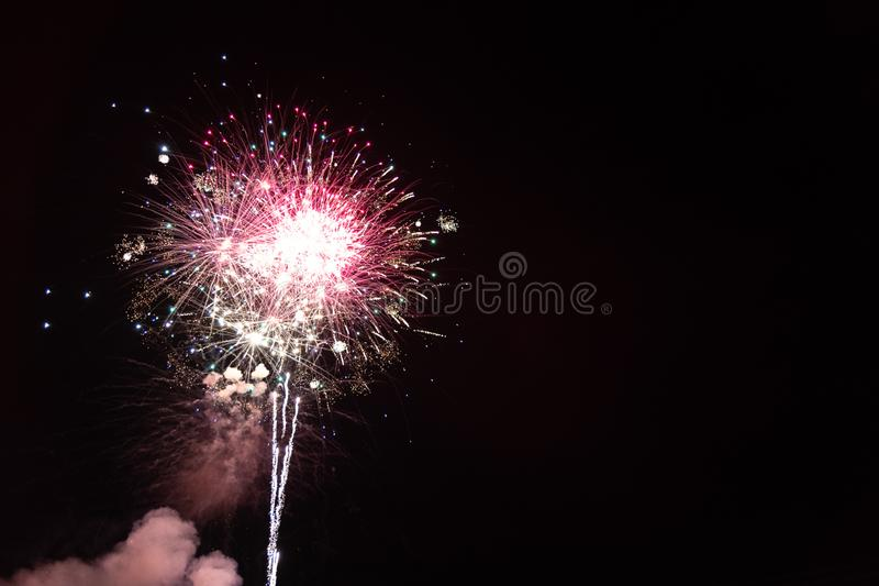 The Red Fireworks. Red Fireworks Labor Day Celebration. July 4th. Independence Day. Night. New Years Eve stock image
