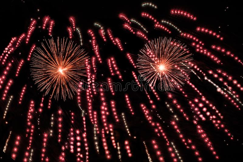 Red fireworks show royalty free stock photos