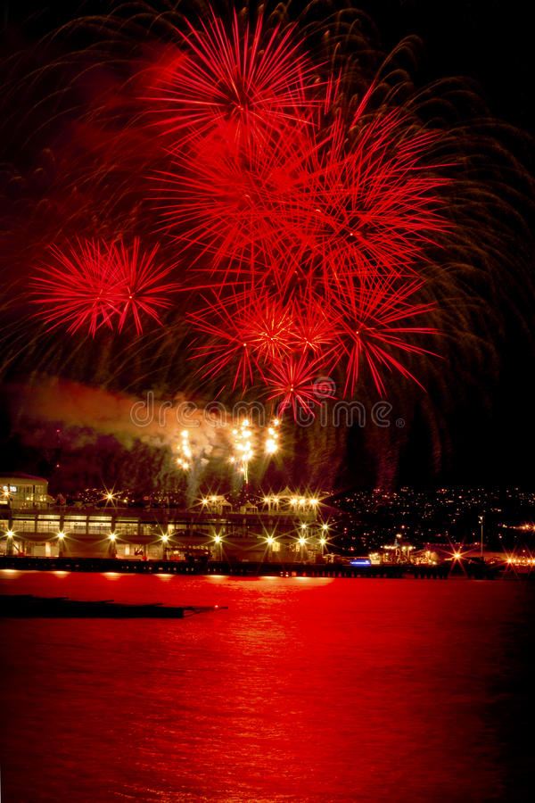 Free Red Fireworks Vancouver Harbor British Columbia Royalty Free Stock Photos - 20193308