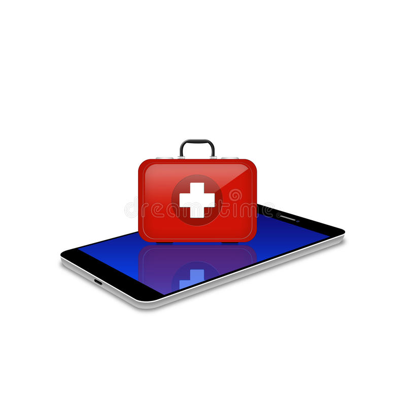 Red First Aid ki on smartphone,cell phone illustration vector illustration