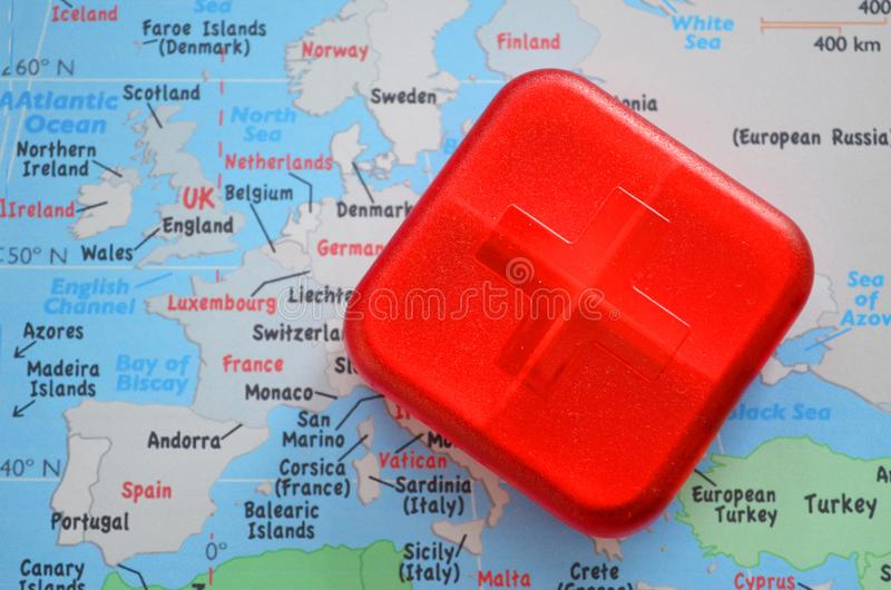 Red first aid kit box with cross royalty free stock photo