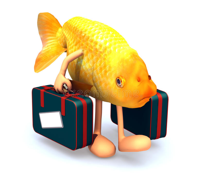 Red fish with arms and legs that take a suitcase vector illustration