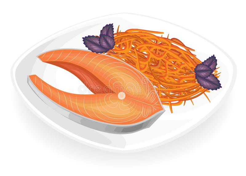 Red fish steak on a plate. Garnish Korean carrot. Green leaves basil. Delicious, tasty and nutritious food. Vector illustration royalty free illustration