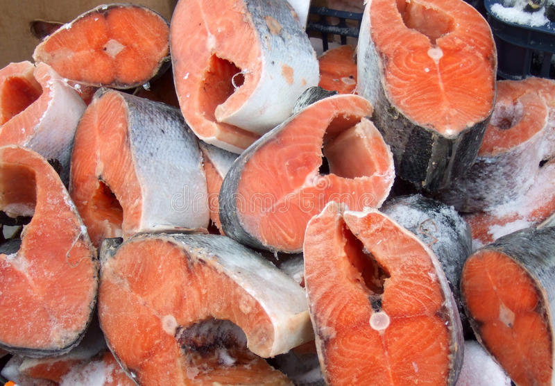 Red fish steaks stock images