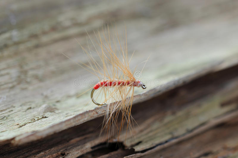 Red fishing fly. Artificial hand made red fishing fly with sharp probe royalty free stock photos