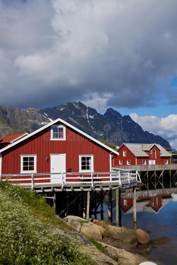 Red fishing huts on Lofoten stock photography