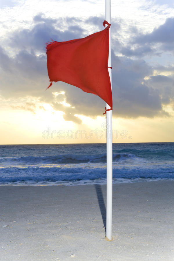 Download Red flag on the beach stock photo. Image of surf, ocean - 14224722